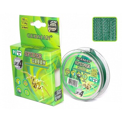 Плетеный шнур German Spider Green 100m x4 0,20mm/16,5kg